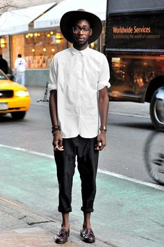 Olu - (20 - student) shirt by Oak, pants by All Saints, glasses by Thirfted, Vintage Bass shoes, Brackets by Thrifted
