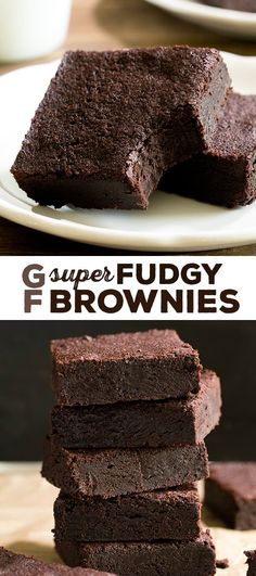 The richest fudgy gluten free brownies recipe made simply with a very basic rice flour blend, cocoa powder, and melted dark chocolate. A chocolate lover's dream!