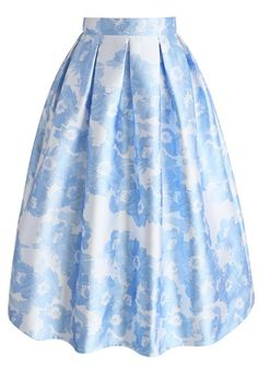 Loving Blue Blossom Printed A-line Skirt- New Arrivals - Retro, Indie and Unique Fashion