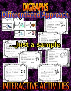 Digraphs – Interactive Activities. CCS Aligned Students learn the ch, ph, th, sh, wh, ck, tch digraphs through hands-on, engaging and differentiated activities as well as through the use of carefully created worksheets/writing sheets. #literacy #reading #writing #spelling #digraphs #CCSS #CCS #commoncore