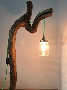 "Stehlampe ""Chur"" - Home decor - schlafzimmermobel Chur, Mason Jar Lamp, Led, Table Lamp, Lighting, Home Decor, Driftwood Lamp, Flagstone, Bedside Lamp"