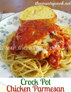 Crock Pot Chicken Parmesan: 25 oz spaghetti sauce 3-4 boneless skinless chicken breast 1 12 cup italian panko crumbs 1 egg 1/2 cup milk 1/2 tsp garlic powder 1/2 tsp oregano 1/2 tsp basil 2 tbsp vegetable oil 1 cup or more mozzarella cheese 1 package spaghetti noodles
