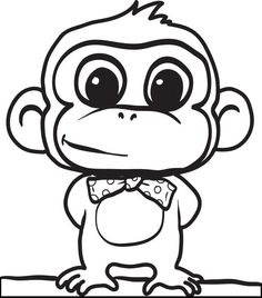 Cartoon Monkey Coloring Page #2