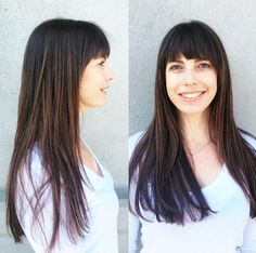 Bangs are perfect for the cooler months of the year! No humidity, no sweat, no ruining your hair after jumping in the pool- and they'll grow out by summer if you're sick of them. Hair by Deona Hurd. Positive Outlook On Life, Hairdressers, 2015 Hairstyles, Grow Out, Denver Colorado, Months In A Year, Fall Hair, Cut And Color, Bangs