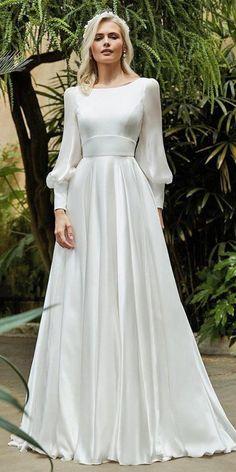 Modest Wedding Dresses With Sleeves, Simple Dresses, Elegant Dresses, Pretty Dresses, Beautiful Dresses, Modest Dresses, Simple Classy Wedding Dress, Simple Long Dress, White Dress With Sleeves