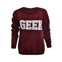 Mix lot nouveau dames néon connaisseur geek impression sweat-shirt... ($5.57) ❤ liked on Polyvore featuring tops, hoodies, sweatshirts, sweatshirt hoodies, sweat tops, red sweatshirt, red sweat shirt and red top