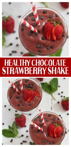 This healthier chocolate strawberry shake is like sipping a chocolate-covered strawberry! (Vegan and Paleo)