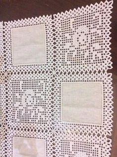Alba Griselda Espinel Rochón's media content and analytics Filet Crochet, Crochet Lace Edging, Crochet Borders, Crochet Round, Thread Crochet, Crochet Doilies, Knit Crochet, Crochet Square Patterns, Crochet Stitches Patterns