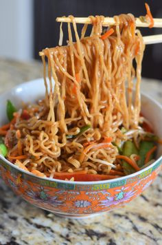 Ramen tossed with carrots, shiitake mushrooms, snow peas, spring onions, and red bell peppers. This Vegetable Ramen isone of the meals I use often for lunches or an easy dinner that the family loves. Such a fun meal to have take out at home! Beef Ramen Noodle Recipes, Top Ramen Recipes, Asian Recipes, Soup Recipes, Vegetarian Recipes, Ramen Food, Recipies, Recipes Dinner, Real Ramen