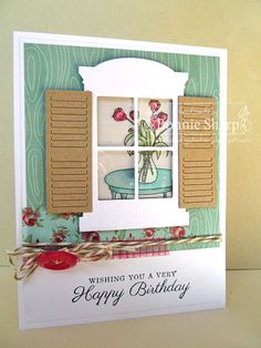 A Very Happy Birthday! by eggette - Cards and Paper Crafts at Splitcoaststampers Card Making Tutorials, Making Ideas, Valentine Verses, Scrapbook Cards, Scrapbooking, Origami Cards, House Cards, Memory Box Cards, Window Cards