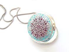 Photo Locket Necklace Mandala jewelry. by BountifulSunflower