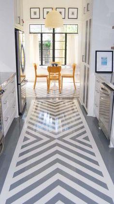 Gray herringbone floor.
