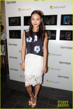 Jamie Chung wearing Isabel Marant Kayapo Earrings in Blue Storets Iceberg Rose Top Storets Dolce Dolce Lace Skirt