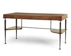 """THE TOP 10 DESKS BY LAURA REGENSDORF  at #6 ELBA DESK BY MATTALIANO FROM HOLLY HUNT To Mariette Himes Gomez, the wrought-iron base of this desk has a subtle yet striking effect—""""like drawing a line in a room,"""" she says. The cerused-oak piece (available to the trade) is 61"""" w. x 31"""" h. x 29"""" d. and has three drawers with notched wood pulls. """"I love the two shelves, which can hold books,"""" she says. """"I see this in an apartment where everything is pared down."""""""