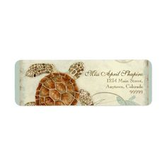 Sea Turtle Modern Coastal Ocean Beach Swirls Style Custom Return Address Labels
