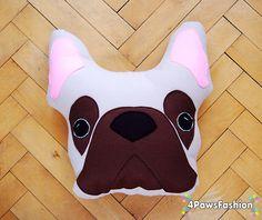 OOAK French Bulldog Throw Pillow  Frenchie Plush Toy Handmade Stuffed dog Home Decor France Buldog Christmas Gift BONO / 4PawsFashion