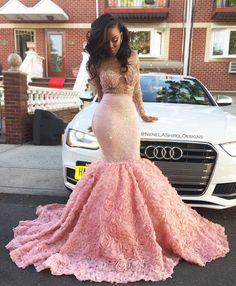 Luxury Sheer Long Sleeve Pink Beaded Rose Flowers Trumpet Prom Dress