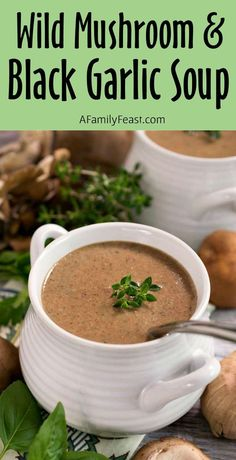 Wild Mushroom and Black Garlic Soup - Seriously.this the best mushroom soup recipe youll ever have. Even better - its simple to make! Wild Mushrooms, Creamed Mushrooms, Stuffed Mushrooms, Best Mushroom Soup, Mushroom Soup Recipes, Garlic Soup, Garlic Noodles, Garlic Aioli, Wild Garlic