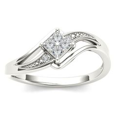 Capture the brilliance of your romance with this solitaire ring made in white gold. The eye is drawn to the quartet of diamonds nestled in four-prong setting, while the polished and diamond-lined bypassing shank wraps the diamond in a polished embrace.