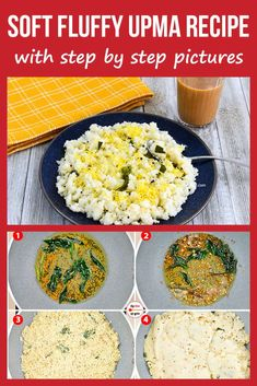 Upma - Indian Breakfast Recipe - with step by step photos. Breakfast Snacks, Vegetarian Breakfast, Best Breakfast, Breakfast Ideas, Making Sweet Potato Fries, Sweet Potato Recipes, Indian Snacks, Indian Food Recipes, Healthy Recipes