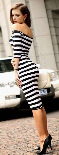 striped bodycon midi dress! sexy cute!