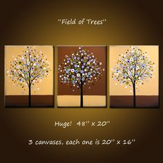 Original Art Large Triptych Abstract Modern Contemporary Trees ... ready 2 hang…