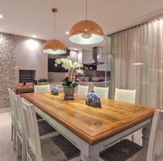 decoração de sala de jantar lustre cobre2