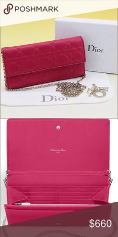 Dior WOC/cross body bag rare fuschia pink Ever wanted to own your very own Dior bag but couldn't afford it? Here is your chance. I'm cleaning out my closet and selling my great condition designer items for a fraction of the price. Don't buy brand new. Buy it online for half price. In this listing I'm selling my Dior wallet on chain (WOC) or can be worn also as a cross body bag. Comes with dust bag, authenticity card, box and bag. Christian Dior Bags Crossbody Bags