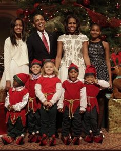 The Obamas and elves Christmas 2017.