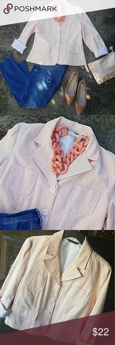"Modern Sherbet Blazer Stylish 4 pocket front striped blazer. Fully lined  20"" bust 17"" across shoulder Hillard & Hanson Jackets & Coats Blazers"