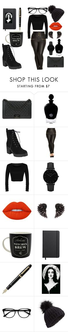 """""""😈"""" by addy-sahs ❤ liked on Polyvore featuring Chanel, EB Florals, City Chic, CLUSE, Lime Crime, Henri Bendel, Shinola, Fountain, EyeBuyDirect.com and Miss Selfridge"""
