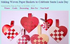 """International theme activities. """"Julehjerter"""" are traditional Danish Christmas decorations woven from paper. They can be filled with sweets or candies or just hung as decorations."""