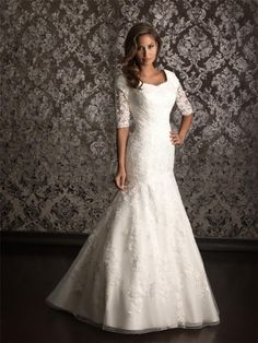 Traditonal Three Quarter Sleeve Asymmetrical Mermaid Lace Wedding Dress | eBay