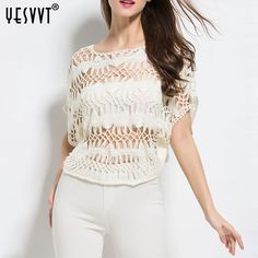 {yesvvt} Pullovers Women 2017 Summer Ladies Sexy Hollow Out Sweaters White Green Blue Free Size Femme Tops Loose Knitted Tops