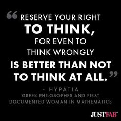 Yeah baby. I loves me some #criticalthinking. (Patois inserted for effect.) ;)