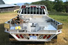 This picture shows a special vee cut-out in a Highway Products aluminum truck flatbed. See more at highwayproducts.com