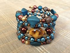 Thick and Chunky Reddish Brown Blue Teal by PeacocksandLeopards, $27.00