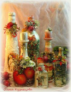 Новогодний декор, декупаж бутылок