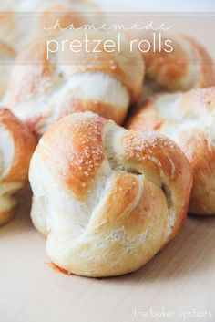 Homemade pretzel rolls from The Baker Upstairs. Crisp and chewy on the outside, and soft on the inside. These rolls are super delicious and make the most amazing sandwiches and burgers! http://www.thebakerupstairs.com
