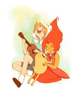 Finn & Fire Princess & Jake <3 I love this and Finn reminds me of nevershoutnever  for some reason lol