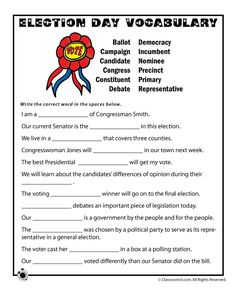 Election Worksheets for Kids Election Day Vocabulary Worksheet – Classroom Jr.