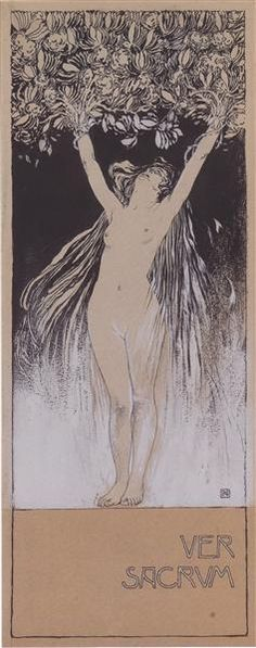 Allegory of Ver Sacrum, sketch of illustration to Ver Sacrum, 101 1898, p.1, 1897 by Koloman Moser. Art Nouveau (Modern). sketch and study. Private Collection