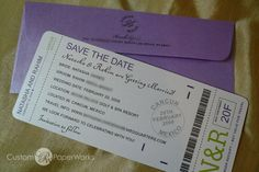Love the travel theme: Boarding Pass Save the Date