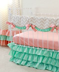 Mint Peach Crib Bedding , Bumperless Baby Girl Bedding,  Peach and Mint Nursery, Chevron baby bedding , Ruffle crib bedding by lottiedababy by LottieDaBaby on Etsy https://www.etsy.com/listing/267919338/mint-peach-crib-bedding-bumperless-baby