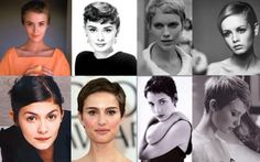 Pixie cuts look especially good on Gamines. Pictured: Jean Seberg, Audrey Hepburn, Mia Farrow, Twiggy, Audrey Tautou, Natalie Portman, Winona Ryder, Michelle Williams.
