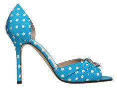 blue and white polka dots MANOLO BLAHNIK