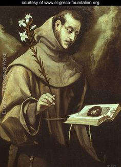 St. Anthony of Padua - El Greco (Domenikos Theotokopoulos) - www.el-greco-foundation.org