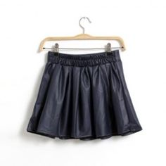 $6.45 Ruffles Bouffant PU Leather PU Leather Solid Color Skirt For Women