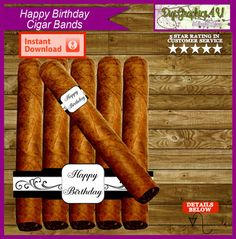 Happy Birthday Cigar Band Cigar Labels Printable by DigiGraphics4u #cigar #labels #band #birthday @etsy @etsy