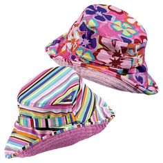 Cute and colorful - does the trick with built-in SPF! Sun Smarties Girl's Reversible Sun Hats